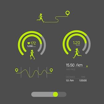 Klaar fitnessapplicatie ui, ux, van info graphics en grafieken. fitness-app-schermen in vlakke stijl met grafieken en info-afbeeldingen. ui-dashboard.