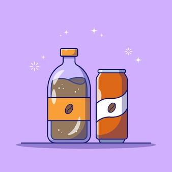 Klaar om koffie te drinken in plastic en kan flessen platte pictogram illustratie geïsoleerd Premium Vector