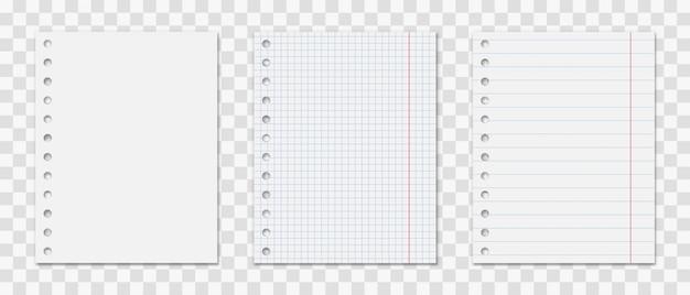 Kladblokblad met geplaatste gaten.