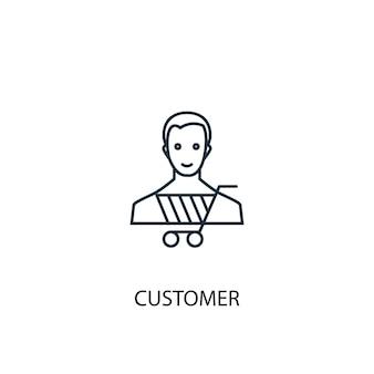 Klant concept lijn icoon. eenvoudige elementenillustratie. klant concept overzicht symbool ontwerp. kan worden gebruikt voor web- en mobiele ui/ux