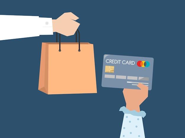 Klant die door creditcardillustratie betalen