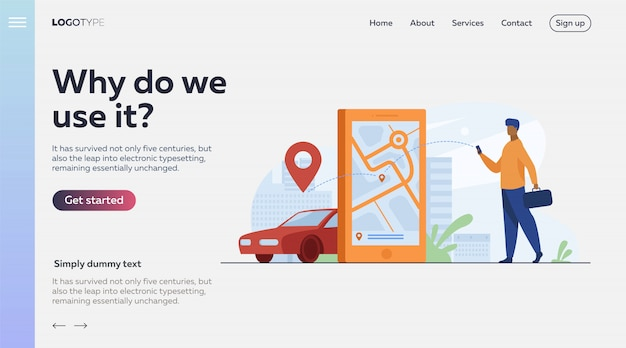 Klant die online app gebruikt voor taxi-bestelling of autoverhuur