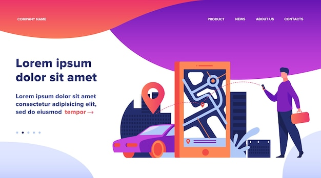 Klant die online app gebruikt voor taxibestelling of autohuur