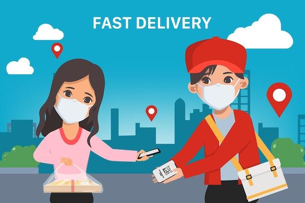 Klant die online winkelt snelle levering tijdens covid19 blijf thuis vermijd het coronavirus