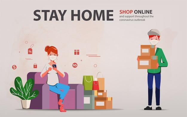 Klant die online winkelt tijdens covid-19. blijf thuis en vermijd verspreiding van het coronavirus.