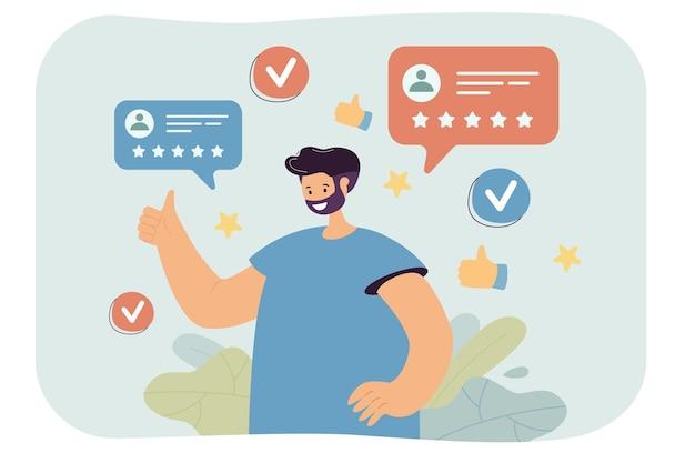 Klant die positieve feedback geeft en online service aanbeveelt