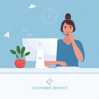 Klant dienstverleningsconcept. vrouw in koptelefoon neemt telefoontjes van klanten. illustratie in vlakke stijl