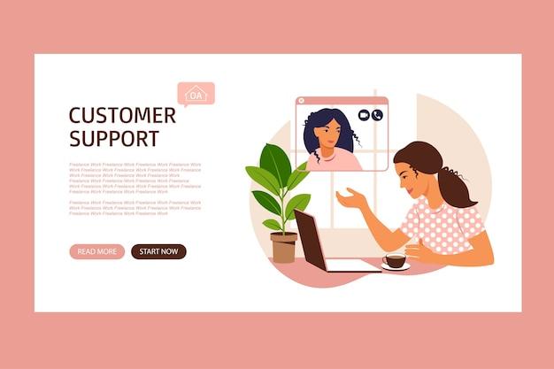 Klant dienstverleningsconcept. vrouwelijke hotline-operator adviseert klant, online technische ondersteuning. operator lost problemen op.