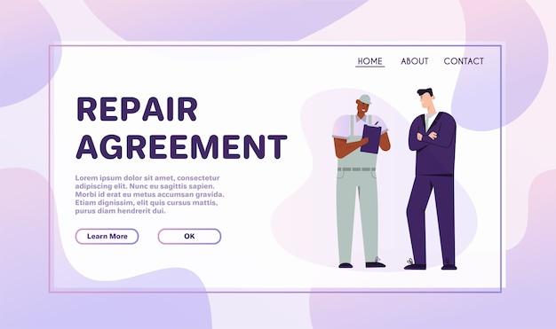 Klant en automonteur ondertekenen overeenkomst om auto te repareren en te betalen voor werk.