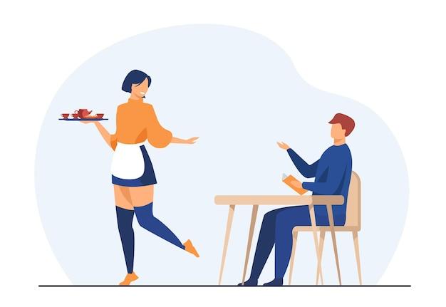 Klant en serveerster in coffeeshop. man die orde maakt in café. cartoon afbeelding