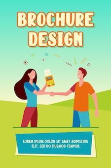 Klant en verkoper handen schudden brochure sjabloon