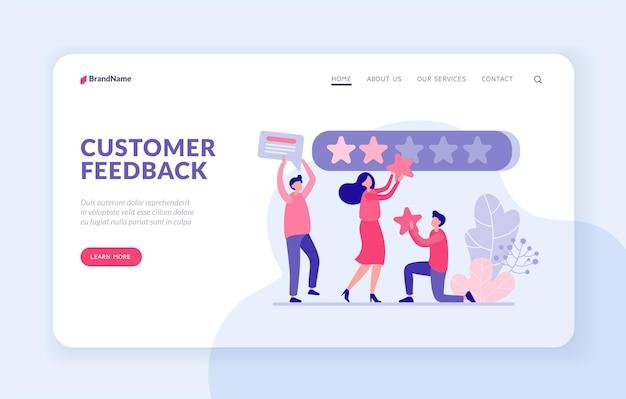 Klant feedback bestemmingspagina website banner vector sjabloon. gebruikers beoordelen app online concept. mannelijke en vrouwelijke personages hechten rode kwaliteitssterren aan webpaneel stars