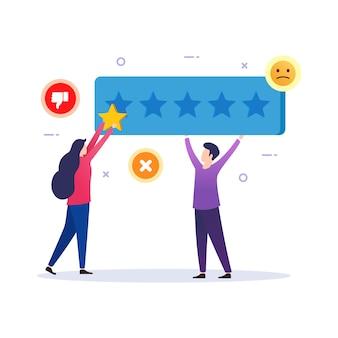 Klant geeft stem slechte feedback beoordelingsresultaten