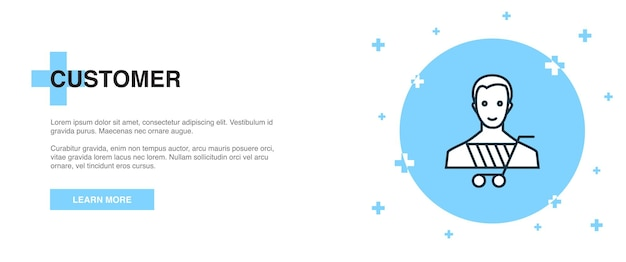 Klant icoon, banner overzicht sjabloon concept. klant lijn illustratie ontwerp