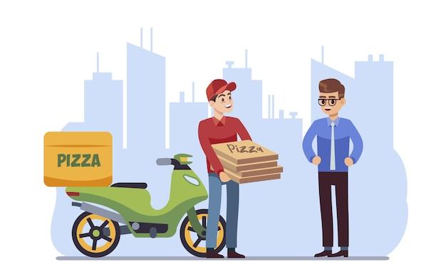 Klant levering karakter. koerier die pizza in doos overhandigt aan klant op stadsgezicht achtergrond, express verzending van voedsel op bromfiets of scooter, platte cartoon vectorillustratie