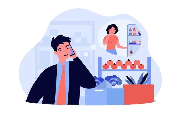Klant met telefoontje in de supermarkt. man raadpleegt zijn vrouw tijdens het kopen van voedsel in de supermarkt en vraagt haar om de koelkast te controleren. illustratie voor eten winkelen of communicatieconcept