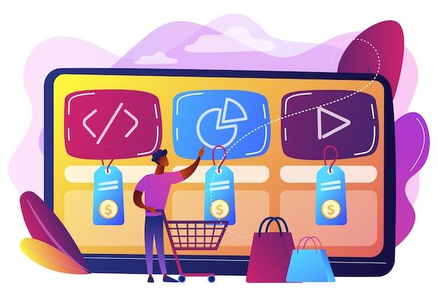 Klant met winkelwagentje online digitale dienst kopen. digitale servicemarktplaats, kant-en-klare digitale oplossing, online marktkaderconcept.