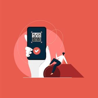 Klant scant qr-code, waarmee ze snel en gemakkelijk contactloos betalen met haar smartphone
