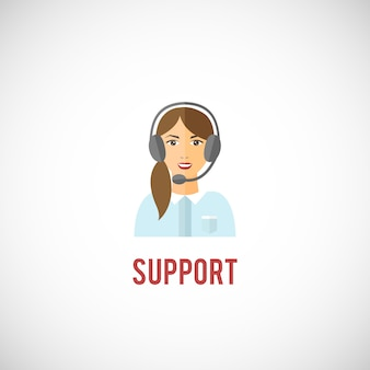Klant technische ondersteuning interactieve service vertegenwoordiger jonge vrouw met hoofdtelefoon embleem pictogram vectorillustratie