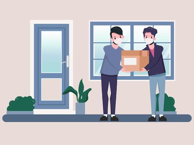 Klant winkelt online snelle levering tijdens covid19 blijf thuis om verspreiding van het coronavirus te voorkomen
