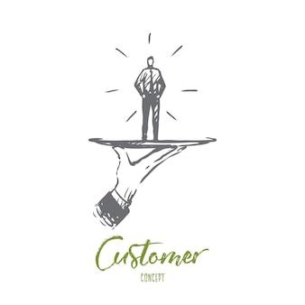 Klant, zaken, service, hulp, klantconcept. hand getrokken klant op een schets van het schotelconcept.