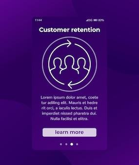 Klantbehoud, terugkerende klanten vectorbanner met lijnpictogram