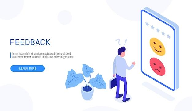 Klantbeoordeling of feedbackconcept. de mens denkt welke feedback hij positief of negatief moet achterlaten. isometrische webbanner voor bestemmingspagina. vector illustratie.