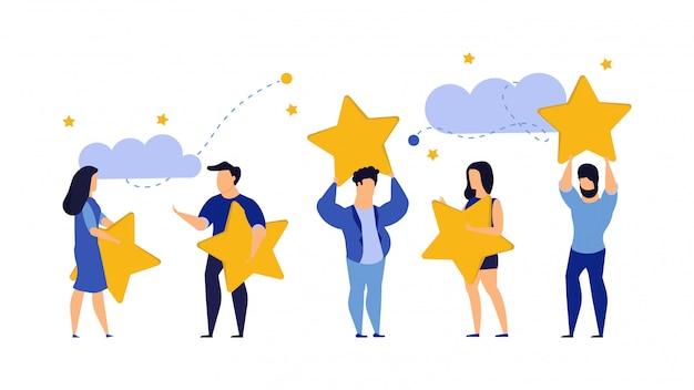 Klantbeoordeling vijf sterren keuze vector illustratie tevredenheid man en vrouw.