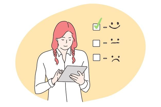 Klantbeoordeling, zaken, feedbackconcept.