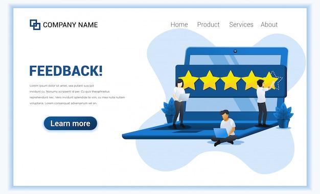 Klantbeoordelingen met mensen die vijf sterren, positieve feedback, tevredenheid en evaluatie geven op gigantische laptop.