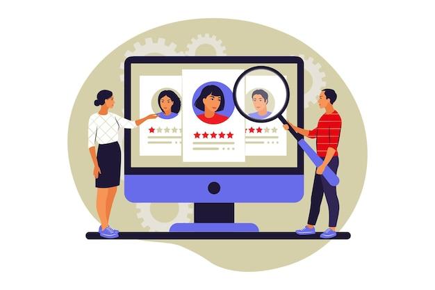 Klantbeoordelingsconcept. gebruikersfeedback. evaluatie van een medewerker. sterrenclassificatie. vector illustratie. vlak.