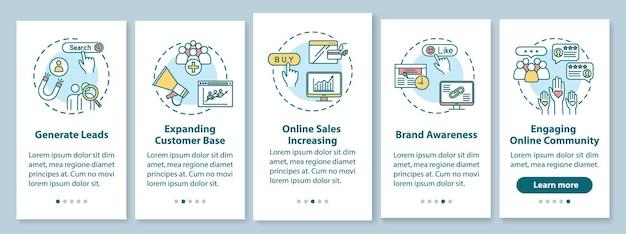 Klanten attractie onboarding mobiele app paginascherm met concepten. het genereren van leads en het verhogen van sales walkthrough 5 stappen grafische instructies. ui-vectorsjabloon met rgb-kleurenillustraties
