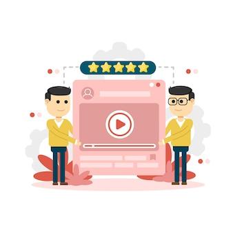 Klanten beoordelen. feedback of beoordelingsconcept