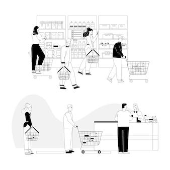 Klanten bij supermarkt.