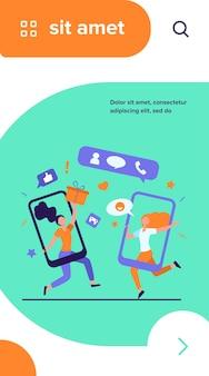 Klanten die referenties delen en geld verdienen. gebruikers van mobiele telefoons chatten, cadeaus uitwisselen