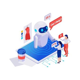 Klanten die vragen stellen aan online winkel chatbot 3d isometrisch