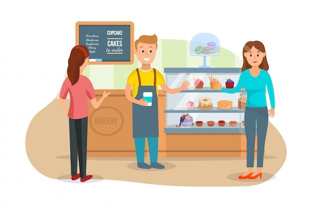 Klanten en shopman bij bakery shop