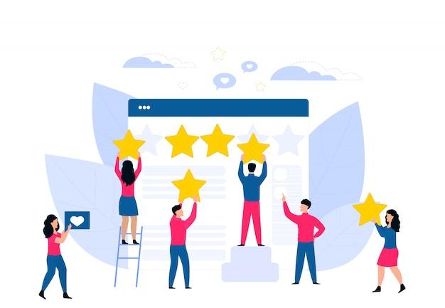 Klanten feedback. online beoordeling. beoordeling van platte vector concept. kleine mensen klampen zich vast aan de enorme webpagina.