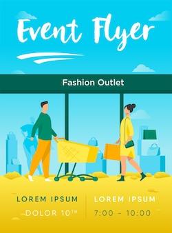 Klanten lopen in fashion outlet flyer-sjabloon