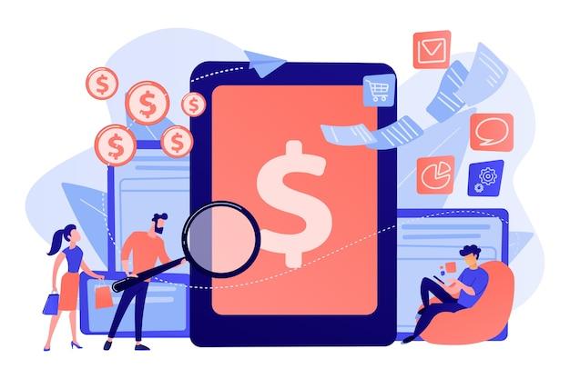 Klanten met een vergrootglas krijgen e-facturering en betalen rekeningen online. e-facturatiedienst, elektronische facturering, e-factureringssysteem en conceptillustratie van e-economiehulpmiddelen