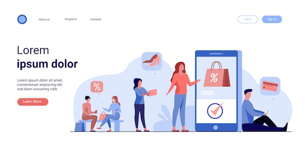 Klanten met smartphones die online winkelen