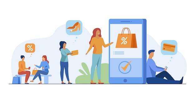Klanten met telefoons die online winkelen