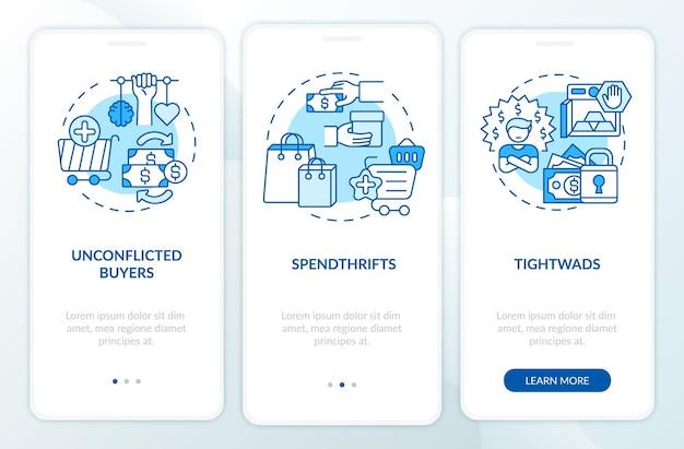 Klanten typen onboarding-paginascherm voor mobiele apps met concepten