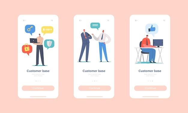 Klantenbasis vouw mobiele app-pagina uit onboard-schermsjabloon. zakelijke personages die nieuwe klanten aantrekken