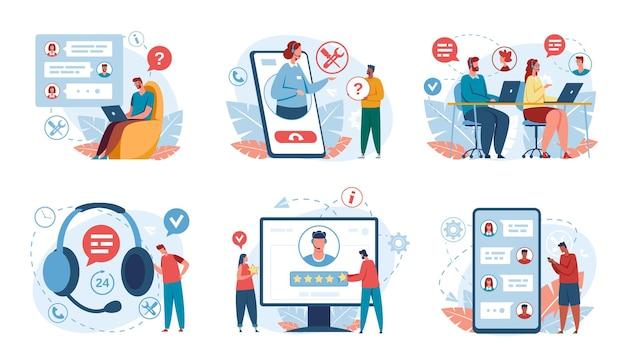 Klantenondersteuning callcentermedewerker in headset helpt concepten voor online ondersteuning van de hotline