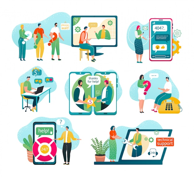 Klantenondersteuning op witte illustraties set. service, mannelijke hotline-operator in headset-adviescliënt, online wereldwijde technische ondersteuning, klant- en operatorassistenten helpen, chatten.