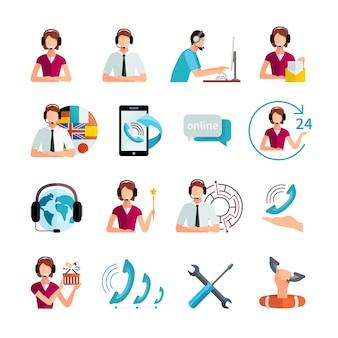 Klantenondersteuning wereldwijde service platte elementen instellen met helpdeskmedewerker en technische bijstand abstract geïsoleerde vectorillustratie
