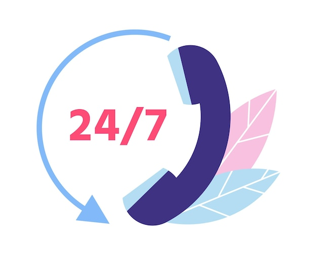 Klantenservice. 24 7 technische ondersteuning. telefoongespreksymbool voor cliëntenraadpleging. persoonlijke assistentie en hotline-operatorcommunicatie. hulp bieden aan klanten vectorillustratie