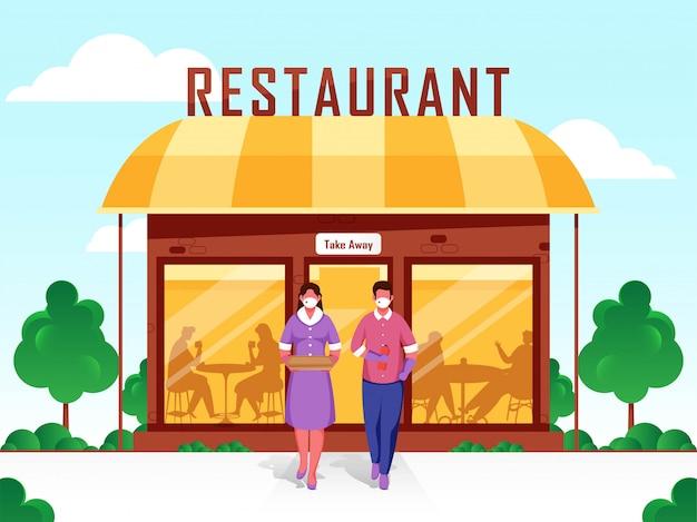 Klantenservice afhaalmaaltijden in open restaurant illustratie tijdens coronavirus.