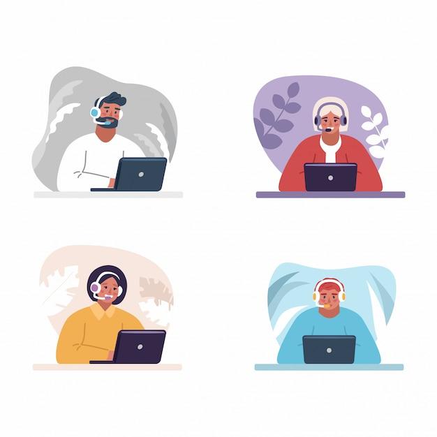 Klantenservice concept. online wereldwijde technische ondersteuning.